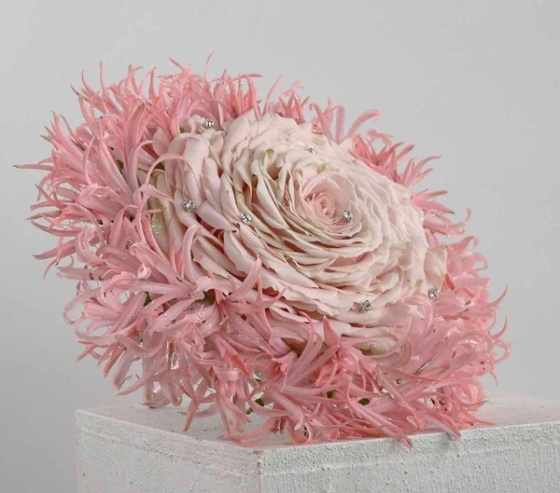 Stunning composite rose with a collar of nerine lilies